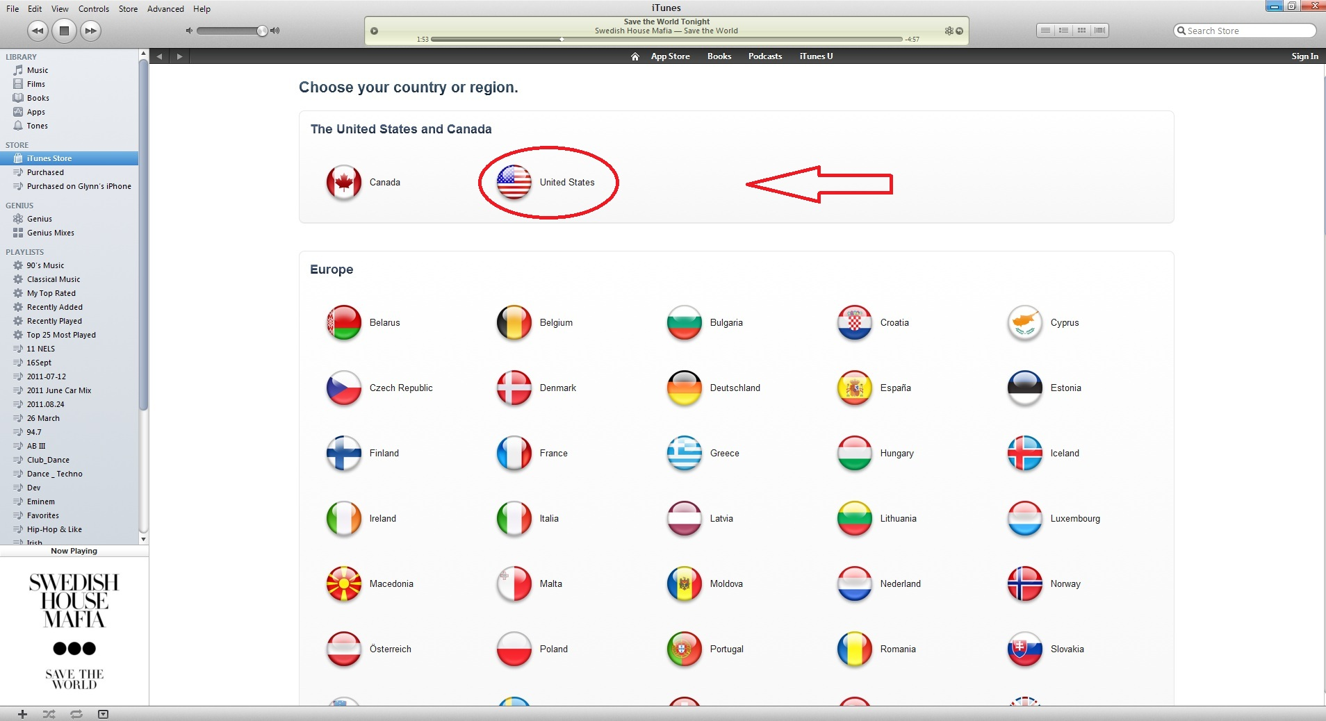how to change to us itunes store