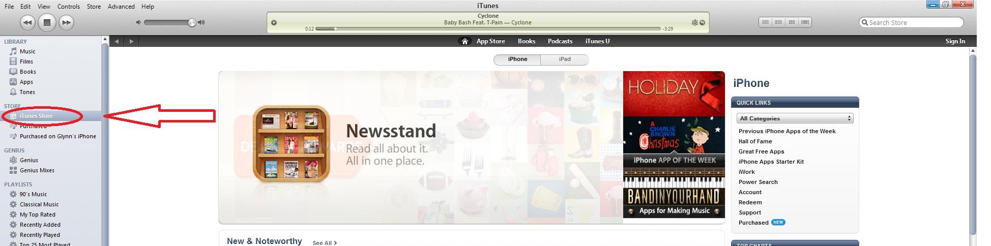 Open iTunes Store
