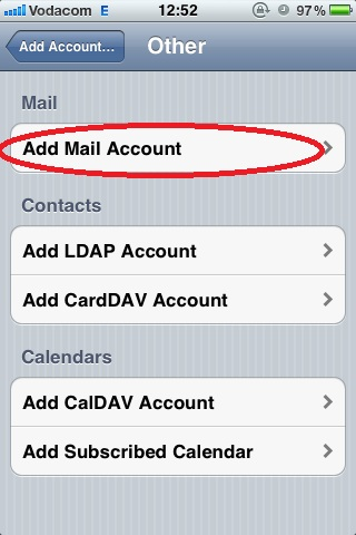 Tap Add Mail Account