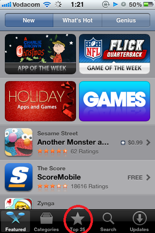 Choose Any Free App or App, or Select Top 25