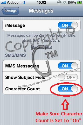 How To Show The Character Count in Messages