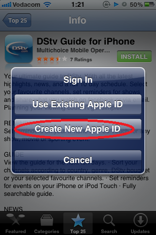 Tap Create New Apple ID