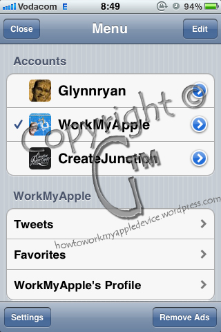 Echofon Accounts Screen