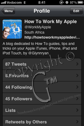 Work My Apple Device Profice on Echofon