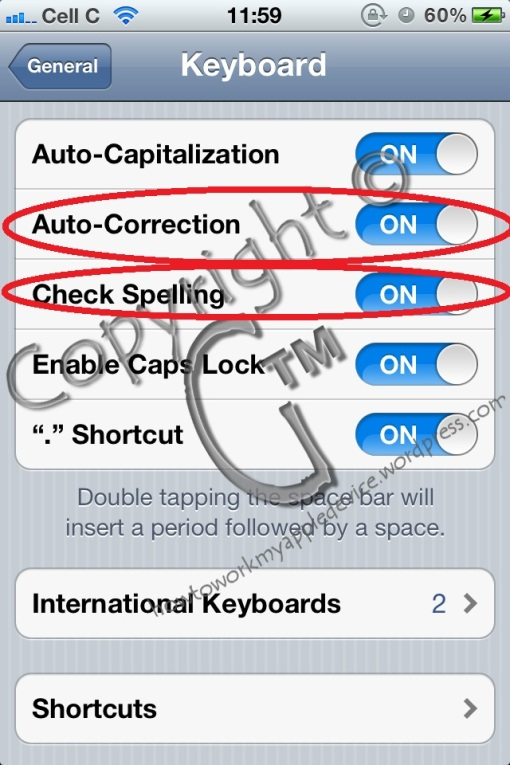 Switch Auto Correction and Spell Checking Back On