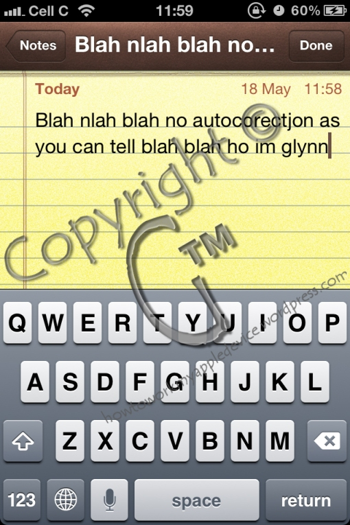 Typing a Note with Auto Correction Off