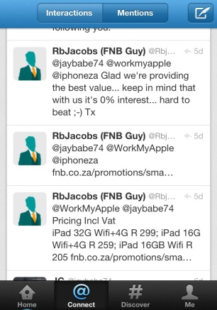 Twitter Conversation with @RbJacobs, @iphoneza and  @jaybabe74